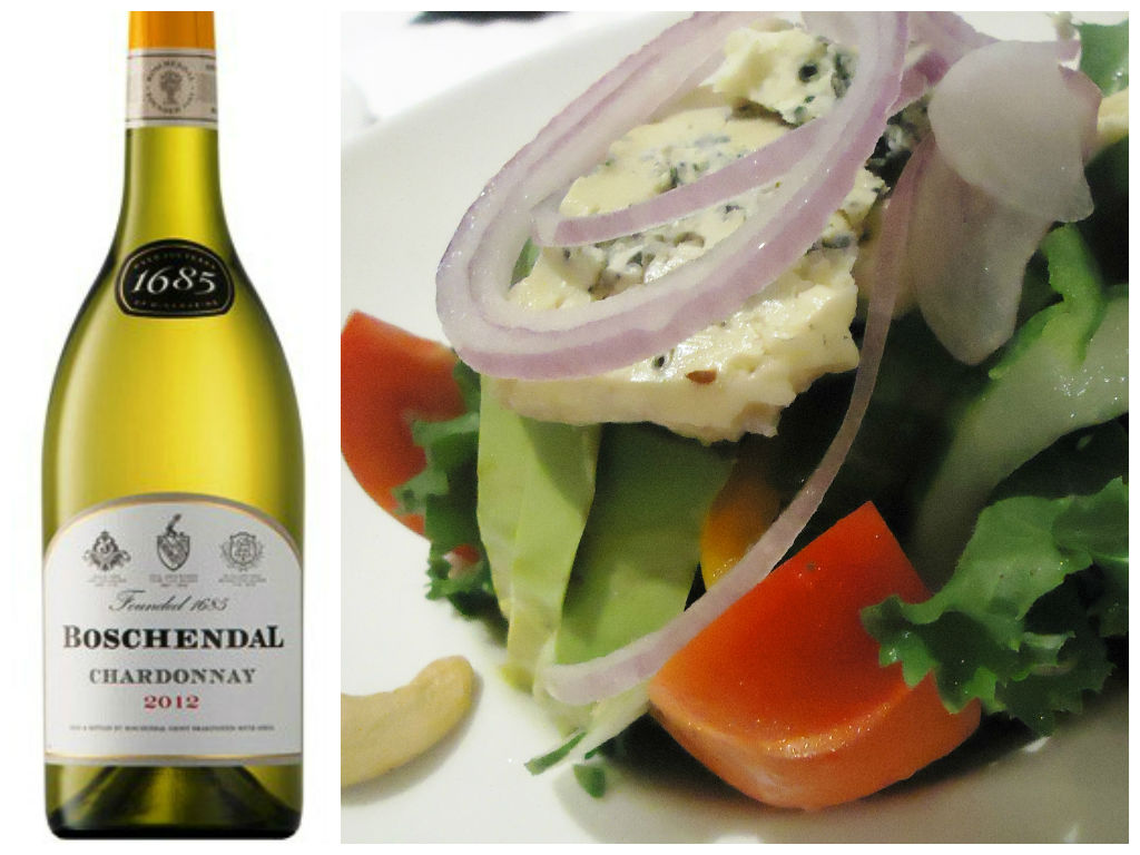 blue cheese salad with boschandel chardonnay